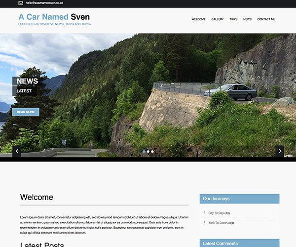 A car named sven is a very simple website based on wordpress to allow the team to showcase their motoring blog.