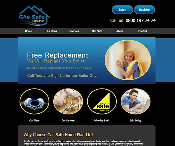 Gas Safe Home Plan is a boiler service and insurance company based in Leeds. They required a affordable website to promote their services around Leeds.