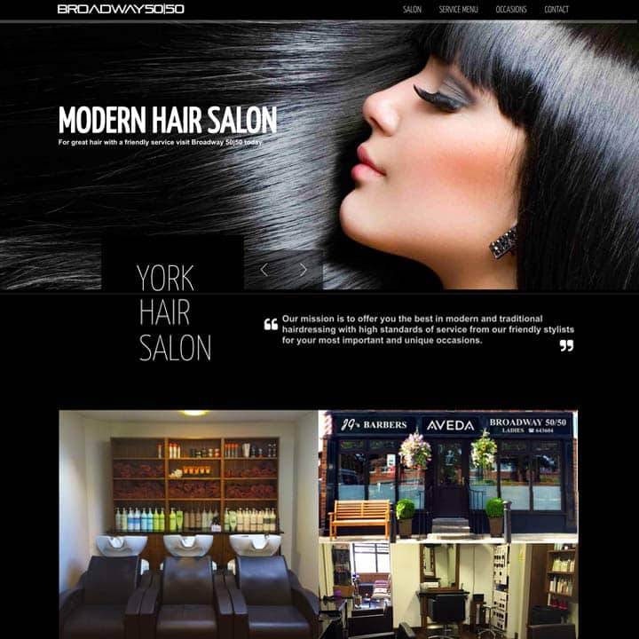 Broadway 50/50 Hair Salon Brochure Website