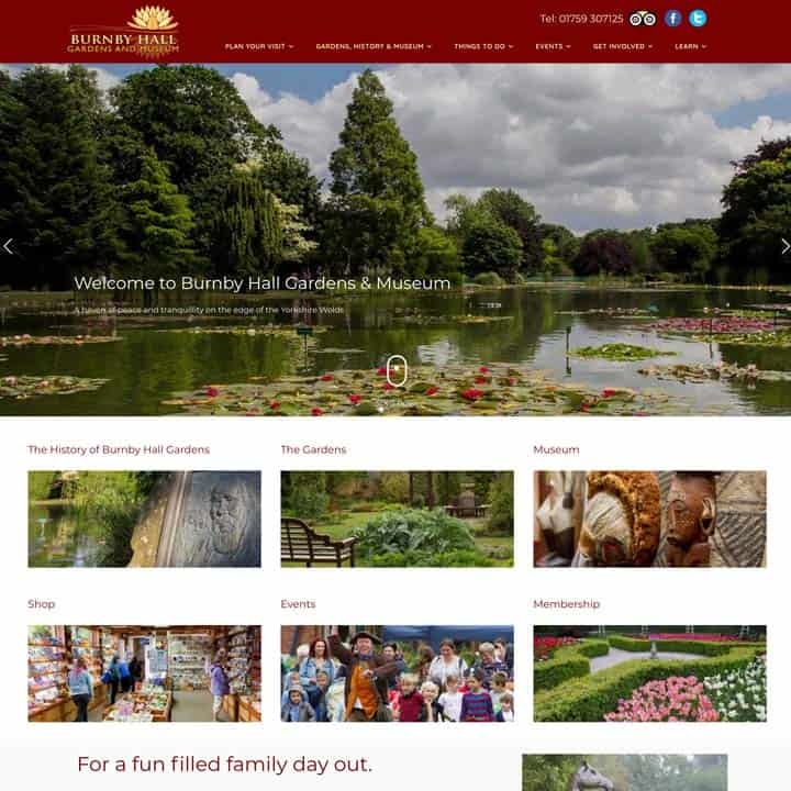 Burnby Hall Gardens Website Design And Development
