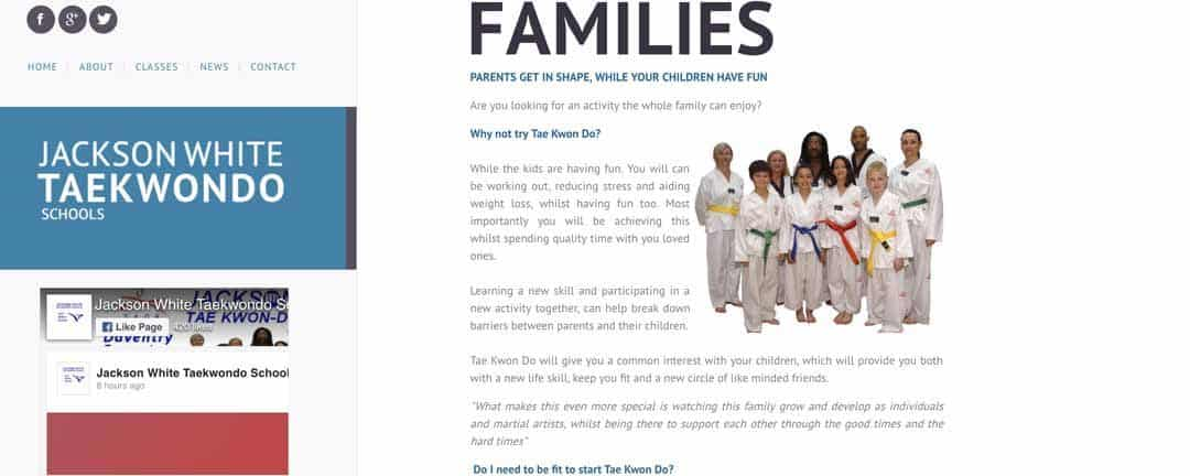 Jackson White Tae Kwon Do Family Classes