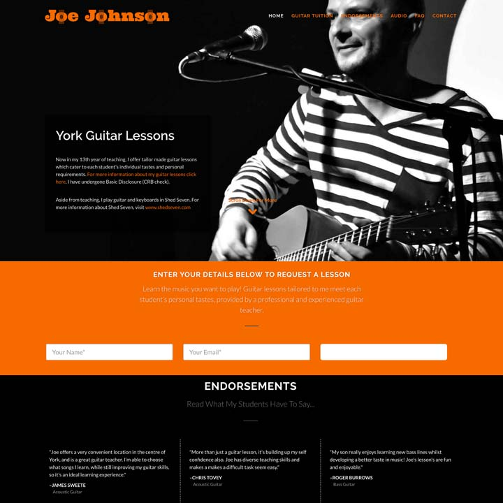 Joe Johnson Guitar Teacher Website Design