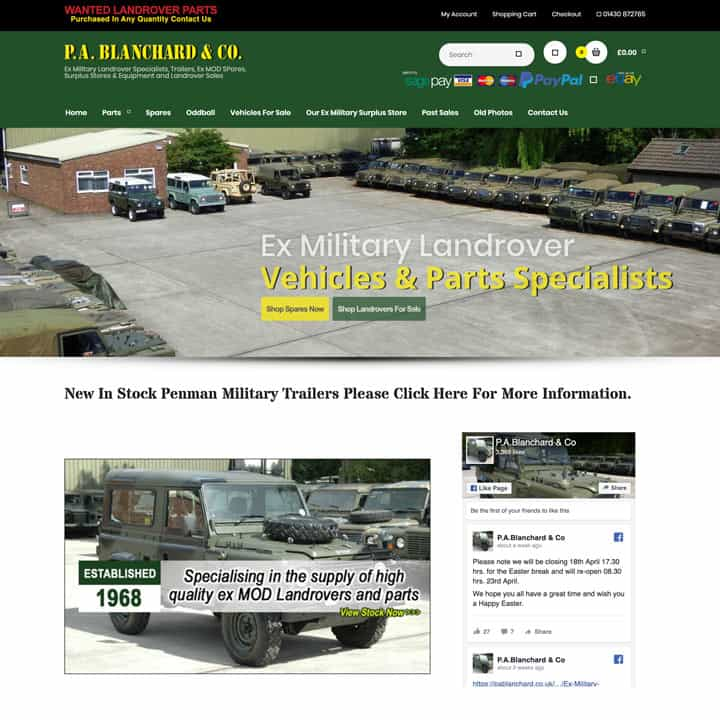 PA Blanchard eCommerce Website