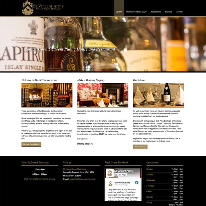 St Vincent Arms Website Design And Development